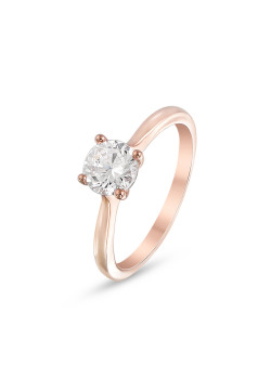 Ring in rosé zilver, zirkonia 6 mm
