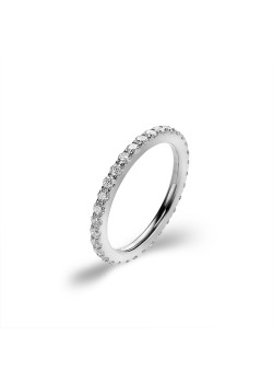 Stainless steel ring, white crystals