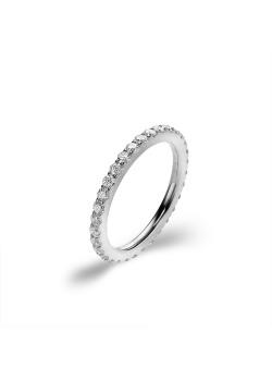 Ring in edelstaal, witte kristallen