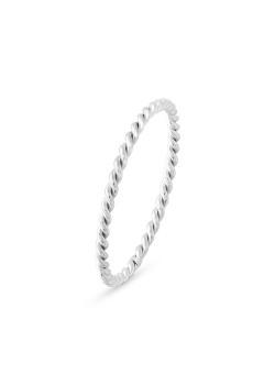 Ring in edelstaal, gedraaide ring, 1,5 mm