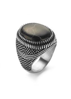 Ovale ring in edelstaal, zwarte steen