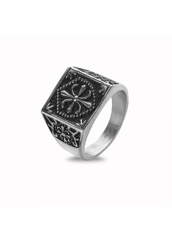 Stainless steel ring, square with drawing, black