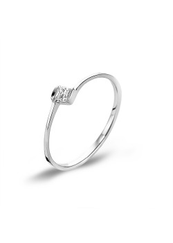 Bague en argent, 1 zircon, rectangle