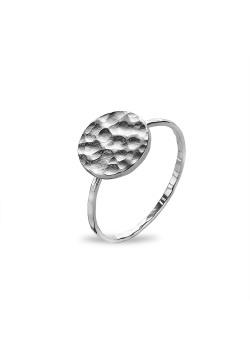Ring in zilver, gehamerde ronde