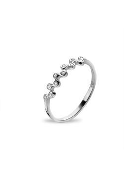 Silver ring, zigzag in zirconia