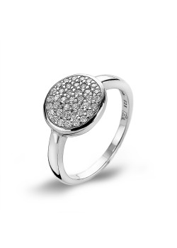 silver ring, round with zirconia