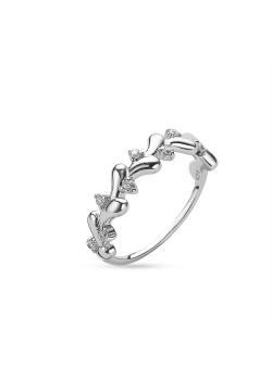 Ring in zilver, kleine druppels, zirkonia