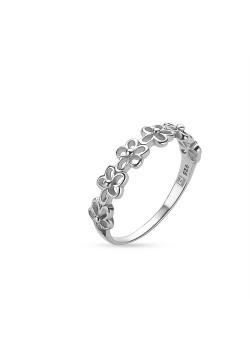 Ring in zilver, open bloemetjes