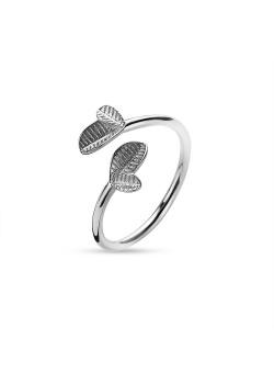 Ring in zilver, 2 kleine blaadjes