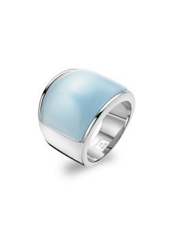 Ring in edelstaal, lichtblauw