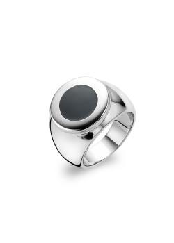 Ring in edelstaal, zwart