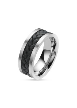 stainless steel and leather ring