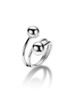 ring in zilver, dubbele bol