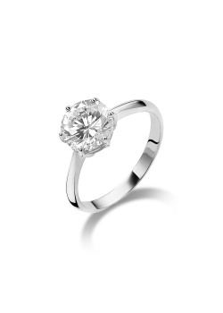 silver ring, solitaire with an 8 mm zirconia