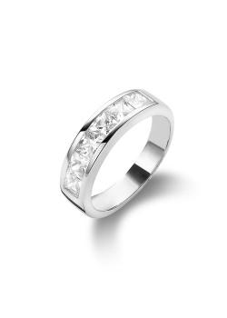 ring in zilver, vierkante zirkonia van 4 mm