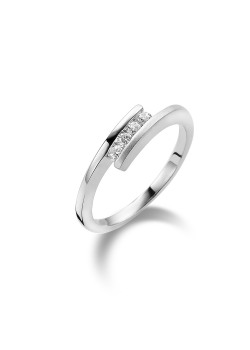 ring in zilver, 4 zirkonia