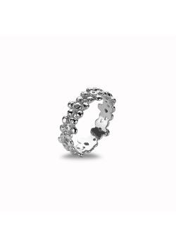 Ring in zilver, bloemen, roze zirkonia