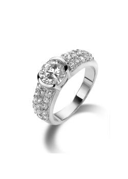 ring in zilver, solitaire met 1 zirkonia van 7 mm en 3 rijen kleine