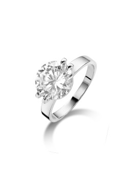silver ring, solitaire with a 10 mm zirconia