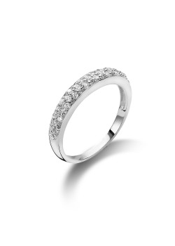 silver ring, triple row of zirconia