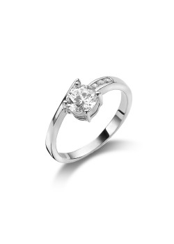 silver ring, solitaire with a 6 mm zirconia and 3 small ones