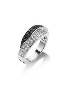 bague en argent, anneau double pavé de zircons noir et brillant