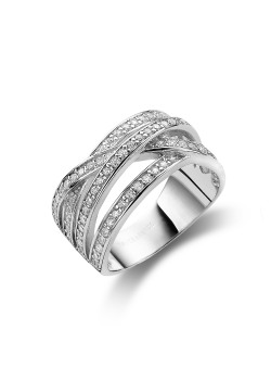 ring in zilver, 4 rijen gezet met zirkonia