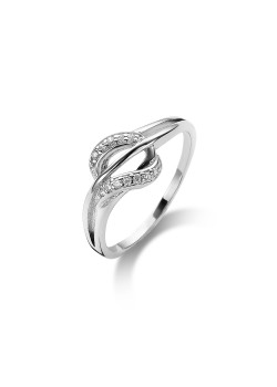 silver ring, abstract motif set with zirconia