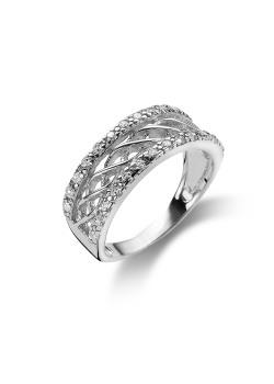 ring in zilver met 2 rijen zirkonia