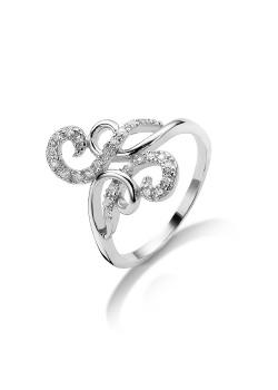 ring in zilver met zirkonia, spiraal motief