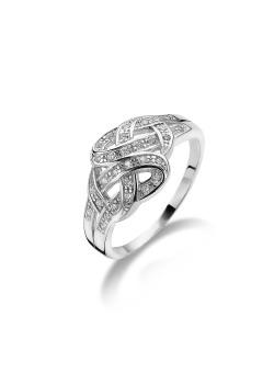 ring in zilver, gevlochten motief met zirkonia