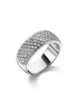 ring in zilver, 5 rijen zirkonia
