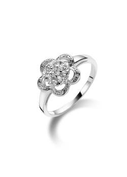 ring in zilver, bloem motief met 6 zirkonia
