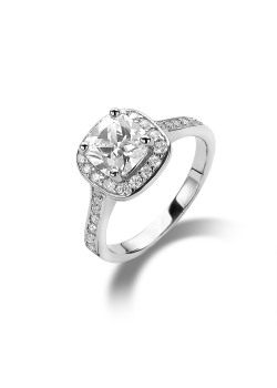 silver ring, solitaire with a 7 mm square zirconia