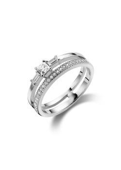 ring in zilver, dubbele ring met zirkonia