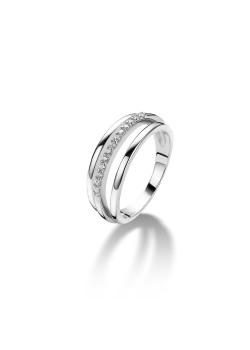 ring in zilver, 3 rijen, zirkonia