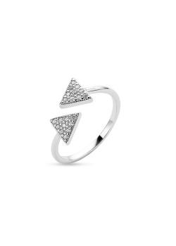 Ring in zilver, 2 driehoeken
