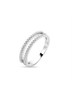 Ring in zilver, dubbele rij zirkonia