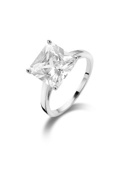 silver ring, 10 mm sqaure zirconia solitaire