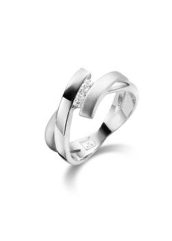 Ring in zilver, mat en blinkend, 3 vierkante zirkonia