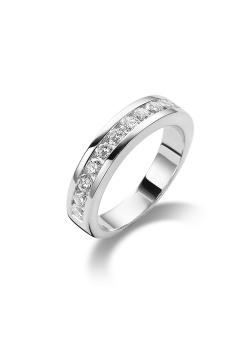 ring in zilver, trouwring met 13 zirkonia