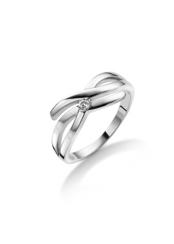 ring in zilver, 1 zirkonia van 2 mm
