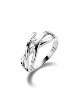 ring in zilver, zirkonia van 3 mm
