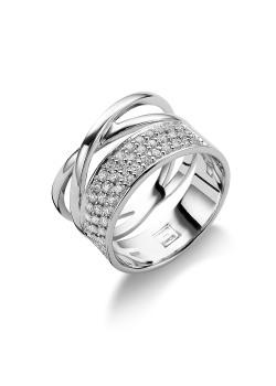 ring in zilver, 3 rijen en zirkonia