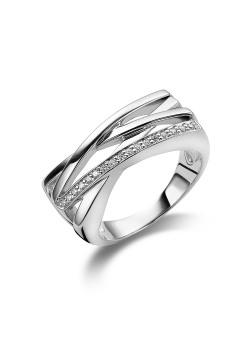 ring in zilver, gekruist met zirkonia
