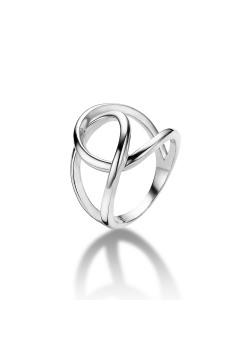 ring in zilver, open gekruiste druppels