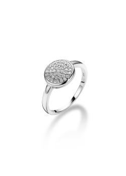 ring in zilver, ronde met zirkonia