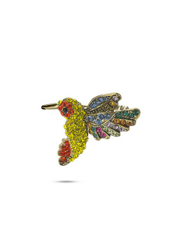 High fashion brooch, multicolored hummingbird with stones