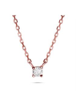Halsketting in rosé zilver, 1 zirkonia