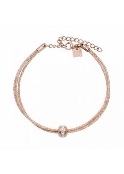 Armband in rosé edelstaal, 3 rijen, bol met kristallen